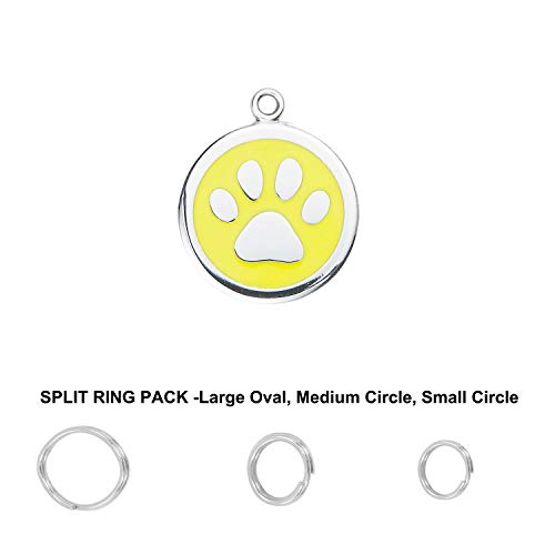 Divoti Deep Custom Laser Engraved Pet ID Tags/Personalized Dog Tags for Pets - Entirely Made of Surgical Stainless-Steel w/Hard Enamel - PAW-S-Free Custom Engraving w/Ring Pack