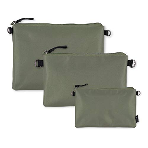 JuJuBe Dry Wet Bags   On The Go   Waterproof Reusable Bags, Organization for Diaper Bags, Baby Strollers   Machine Washable Travel Bags with Zipper Closure   3-in-1 Set   Olive