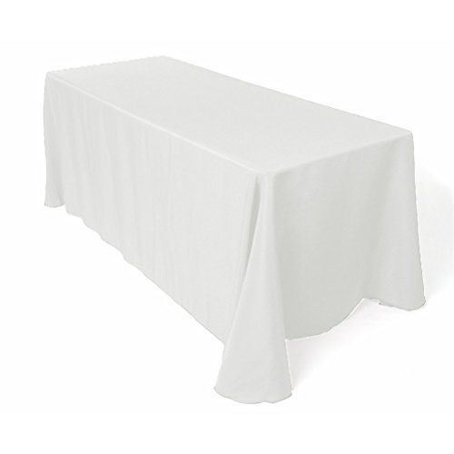 Surmente Tablecloth 90 x 132-Inch Rectangular Polyester Tablecloth for Weddings, Banquets, or Restaurants (White) by Surmente