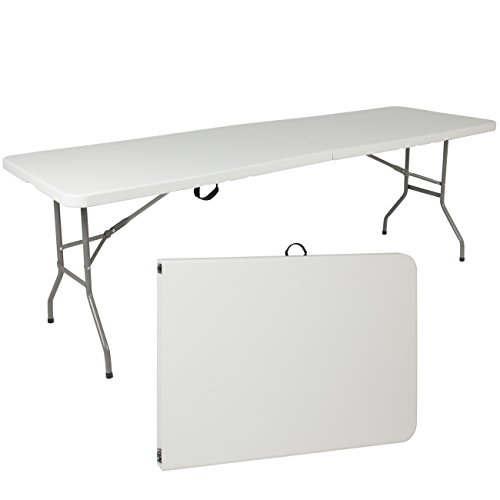 (Best Choice Products 8ft Folding Portable Plastic Table for Indoor, Outdoor, Picnic, Party w/ Handle & Lock - White)