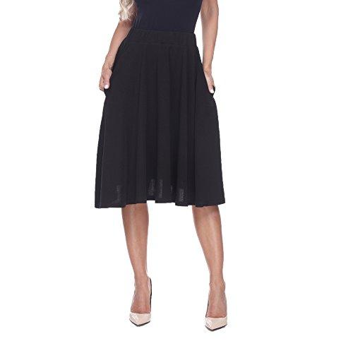 White Mark Saya Flare Skater Skirt in Black - Large