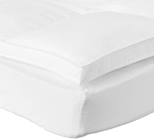 "Superior Twin Mattress Topper, Hypoallergenic White Down Alternative Featherbed Mattress Pad - Plush, Overfilled, and 2"" Thick"