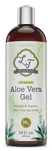 99% USDA Organic-Pure-Aloe-Vera-Gel 16oz| For Face, Hair, Skin Care & Acne, Sunburn, Bug Bite, Rashes, Eczema Relief | 100 Percent Pure & Natural Cold Pressed Aloe Vera | Chemical & Preservative Free