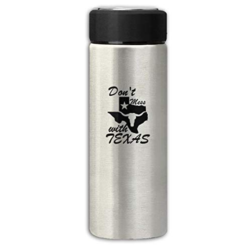 Don't Mess with Texas State Longhorn Star Business Scrub Thermos Cup Stainless Steel Vacuum Thermos Flask Keeps 18 Hours Hot 13 Oz - Stainless Longhorns Thermos Texas Steel