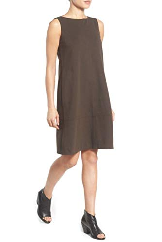 (Eileen Fisher Milano Viscose Knit PEAT Brown Dress L MSRP $358.00 )