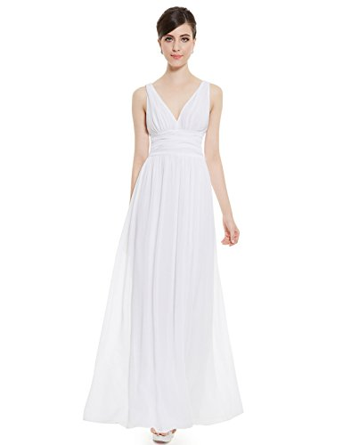 Ever-Pretty Elegant V-Neck Long Party Dress 14US White