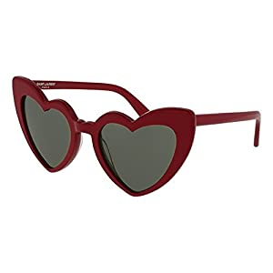 Yves Saint Laurent sunglasses Loulou (SL-181 004) Dark Bordeaux - Transparent Bordeaux - Grey green lenses
