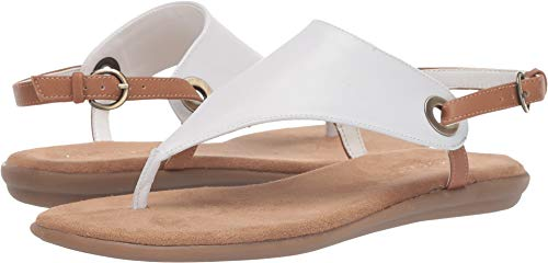 Aerosoles Women's in Conchlusion Flat Sandal, WHITE COMBINATION, 8 M US (Leather Thong White)