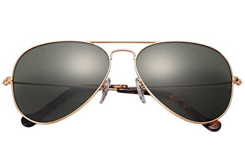 O-LET Aviator Sunglasses for Girls Boys Fishing Driving UV400 Glass Lens Aviators Small (55mm, ()