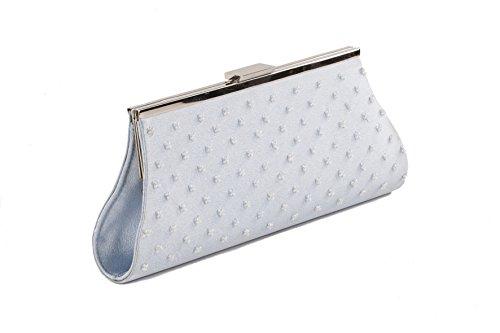 Pochette AC 751 Azzuro, borsetta con decorazioni in perline e chiusura in metallo