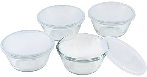 Anchor Hocking 80381L11 Set of 4 Custard Cups with 4 Lids, 6 ounces