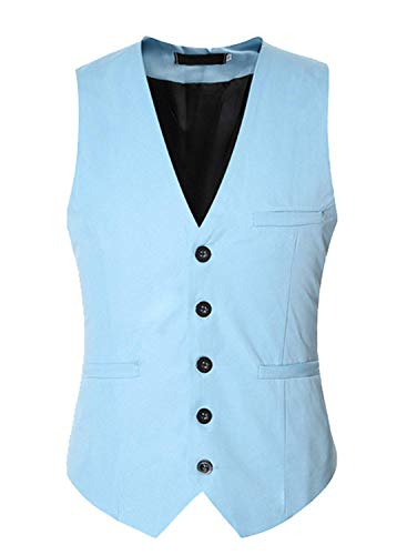 Hommes Moderne Fit Party Waistcoat Slim Color Casua Hellblau De Costume Basic Gilets Solid Mariée Tuxedos Gilet Robe Blazer 8rOx86w5q