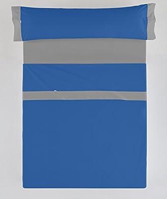 ESTELIA - Juego de sábanas Liso Color azulón-Plomo - Cama de 150 ...