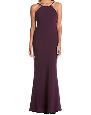 Calvin Klein Crepe Open Back Halter Gown Dress