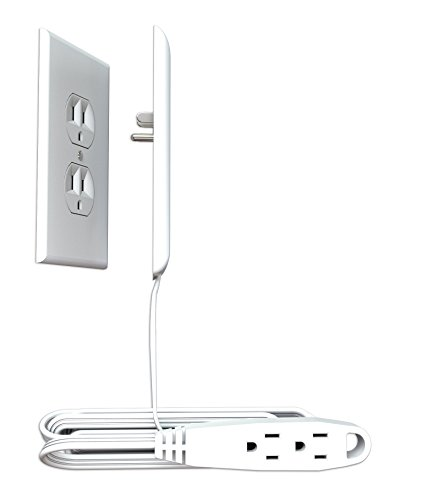 sleek socket - Unmatched Home Décor Around Electrical Outlets. Hide Ugly & Unsafe Plugs & Cords (9 Foot version) And Is Slimline Cord