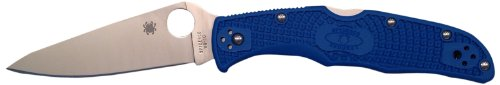 Spyderco Endura4 Lightweight FRN Flat Ground PlainEdge Knife (Blue)