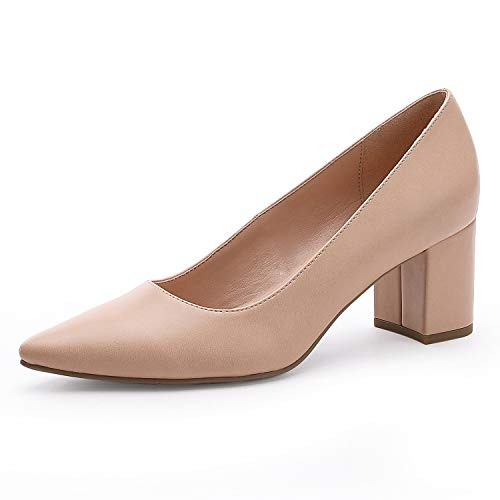 MecKiss Women's Mid Block Heels Pumps Bridal Wedding Party Court Shoes Ladies Versatile Slip on Pointed Toe Dress Shoes