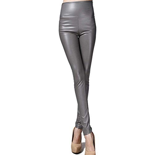 Pantaloni Hell Festa Donna Warm Matita Colori Da A Leather Moda Faux Legging Solid Vita Stretch Style Leggings Grau Alta TqCH7wI