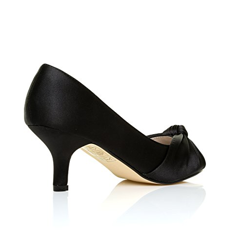 PARIS Black Satin Kitten Medium Heel Bridal Peeptoe Shoes 2AI81