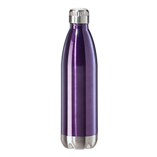 Oggi 8086.8 Stainless Steel Calypso Double Wall Sports Bottle with Screw Top (0.75 Liter, 25oz )-Purple Lustre Finish