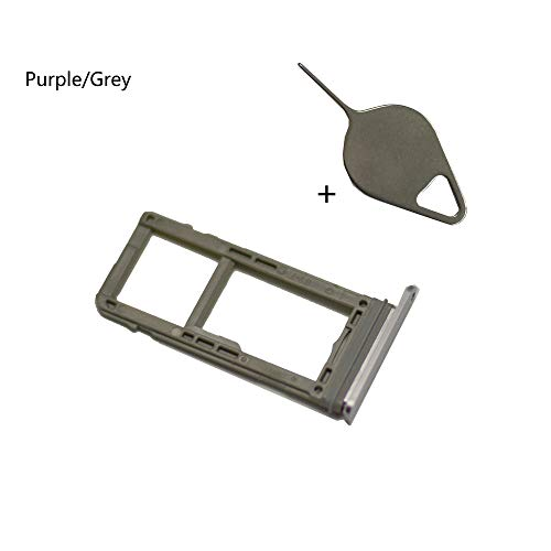 EagleStar Note 8 Replacement (Single Sim) Card Holder+Micro SD Card Holder Slot Tray+Eject Pin Tool for Samsung Galaxy Note 8 N950 (Fit All Carrier)-Grey/Purple