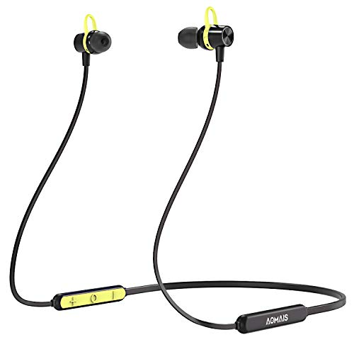 AOMAIS E2 Bluetooth Headphones, Quick Charge Wireless Neckband Earphones, Lightweight Stereo in Ear Magnetic Headset, Sweatproof Earbuds Built-in Microphone with Secure Fit for Running, Gym (Green)