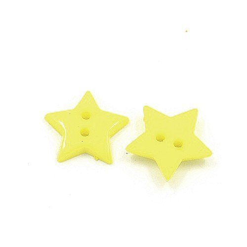 Pack of 50+ Yellow Acrylic 19mm Star Buttons (2 Hole) - (HA09595) - Charming Beads
