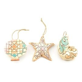 Enesco Jim Shore Heartwood Creek Mini Seashell Ornaments, 3-1/2-Inch, Set of 3