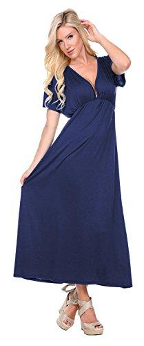 Stanzino Women's V neck Short Sleeve Elastic Waist Maxi Dress – Small, Navy