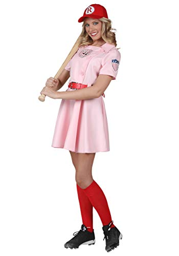 Women's A League of Their Own Embroidered Dottie Costume Set Medium Pink -