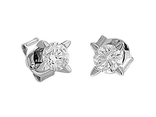 Birgie Diamants et Bijoux - Boucles d'Oreilles Diamants Solitaires 0.47 Carat-Femme- or Blanc 201E0025