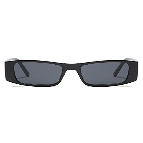 Lente sol rectangulares coloreadas sol de Gafas de delgado pequeña Gafas Extremo Vintage Negro zwqRvYB