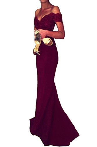 Honey Qiao Burgundy Lace Mermaid Bridesmaid Dresses Long Prom Party Gowns (Dress Dark Long Prom)