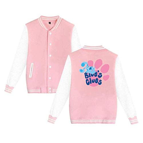 Blue's Clues Dog Mens & Womens Fashion Hoodie Baseball Uniform Jacket Sport Coat Pink ()