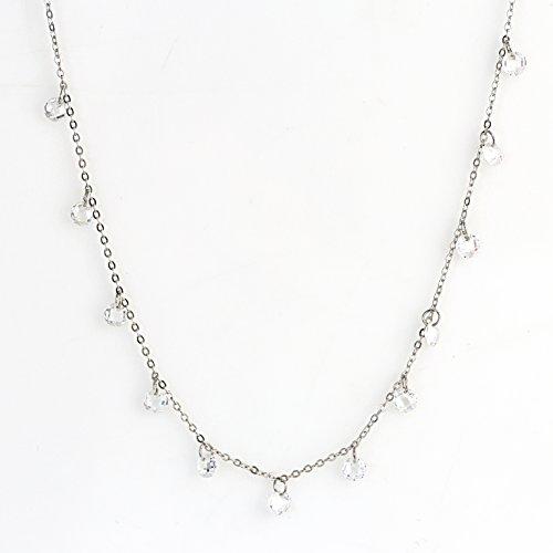 licate Silver Tone Designer Necklace with Dangling Swarovski Style Crystals (Dangling Sparkler) ()