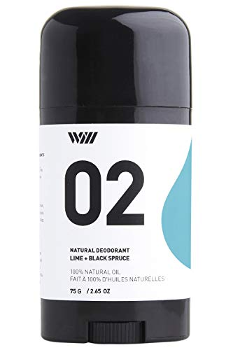 Way Of Will 02 Natural Deodorant under arm stick aluminium free, infused with essential oils, 100% natural for men and women 75g /2.65 OZ (Lime + Black Spruce) ()