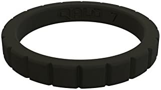 QALO Womens Jet Black Step Stackable Silicone Ring Size 06