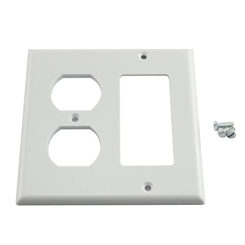 Maxmoral 1pc Duplex Receptacle Outlet Combination Switch Wall Plate Standard Size Device Mount 2 Gang Opening - Plates Wall Gang Receptacle 2