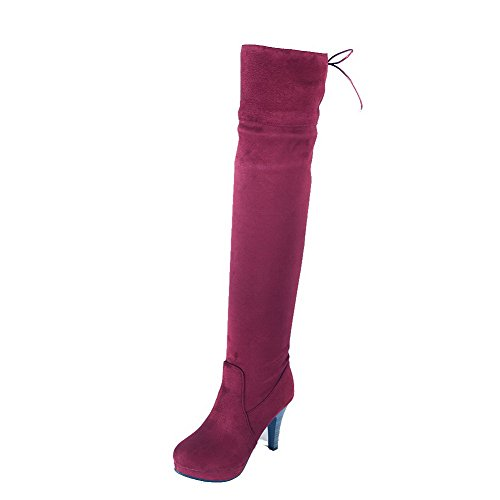 AmoonyFashion Womens Frosted Round Closed Toe Solid High-Top High-Heels Boots Claret WAMoVlHLi