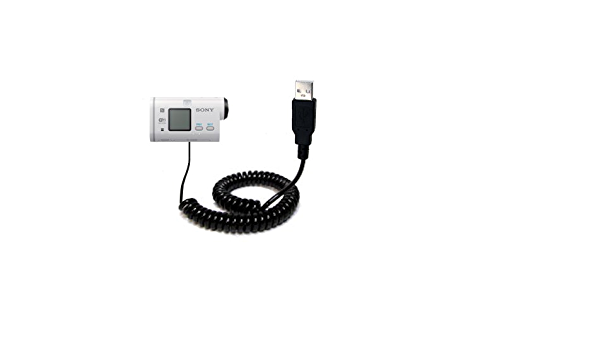 Gomadic USB Charging Data Coiled Cable designed for the Sony FDR-X1000 Will charge and data sync with one unique TipExchange enabled cable