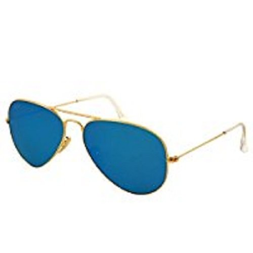 Ray-Ban AVIATOR LARGE METAL - MATTE GOLD Frame CRY.GREEN MIRROR MULTIL.GREEN Lenses 55mm - Mirror Ban Aviator Ray