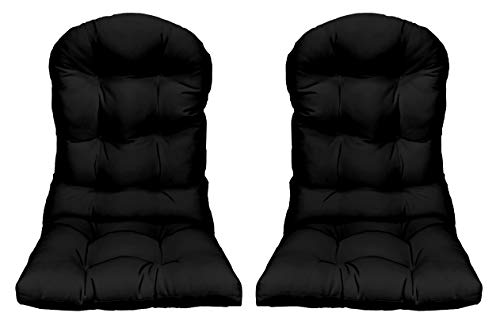 RSH Décor - Indoor/Outdoor Tufted Adirondack Chair Seat Cushion - Choose Color (2 Solid Black) ()