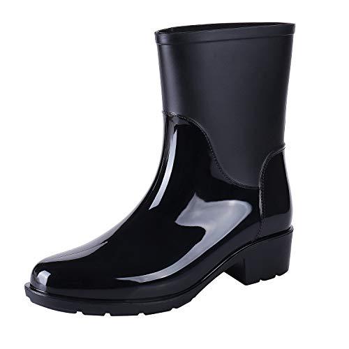 Siquanu Women's Anti-Slip High Boots Glossy PVC Waterproof Block Heel Rain Boots Outdoor Rain Footwear Outdoor