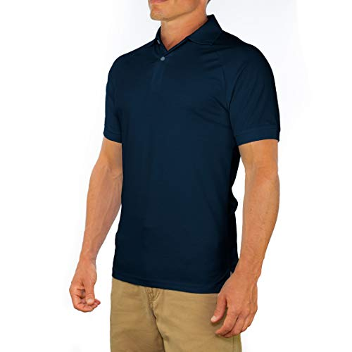 Comfortably Collared Men's Perfect Slim Fit Short Sleeve Soft Fitted Polo Shirt, Large, Navy Blue