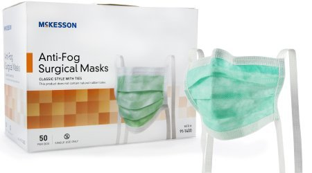 McKesson Medi-Pak Anti-Fog Surgical Mask with Ties - One Size Fits Most