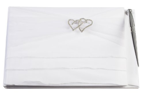 Double Heart Guest Book (Darice VL107GB Double Heart Rhinestone Organza Ruffle Wedding Guest Registration Book with Pen, White)