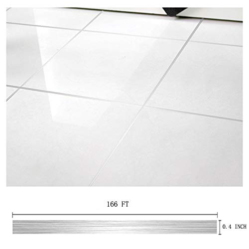 (Eanpet 0.4 Inch x 166 Ft Tile Stickers Decorative Floor Wall Sticker Foil Line Peel and Stick Adhesive Waterproof Gap Cover for Kitchen Bathroom Living Room Bedroom (1pc Roll))