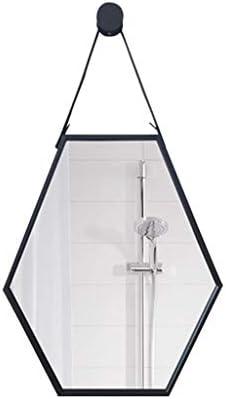 ホームデコレーションミラー錬鉄六角屋内ベッドルームリビングルームバニティミラー壁掛け J1/11 (Size : 60x80cm)