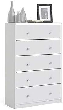 Levan Home Modern White Tall 5 Drawer Chest/Bedroom Dresser