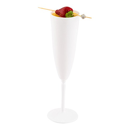 White Plastic Champagne Flute - 4 oz - Catering, Weddings, Banquets - One Piece Design - 100ct Box - Restaurantware]()
